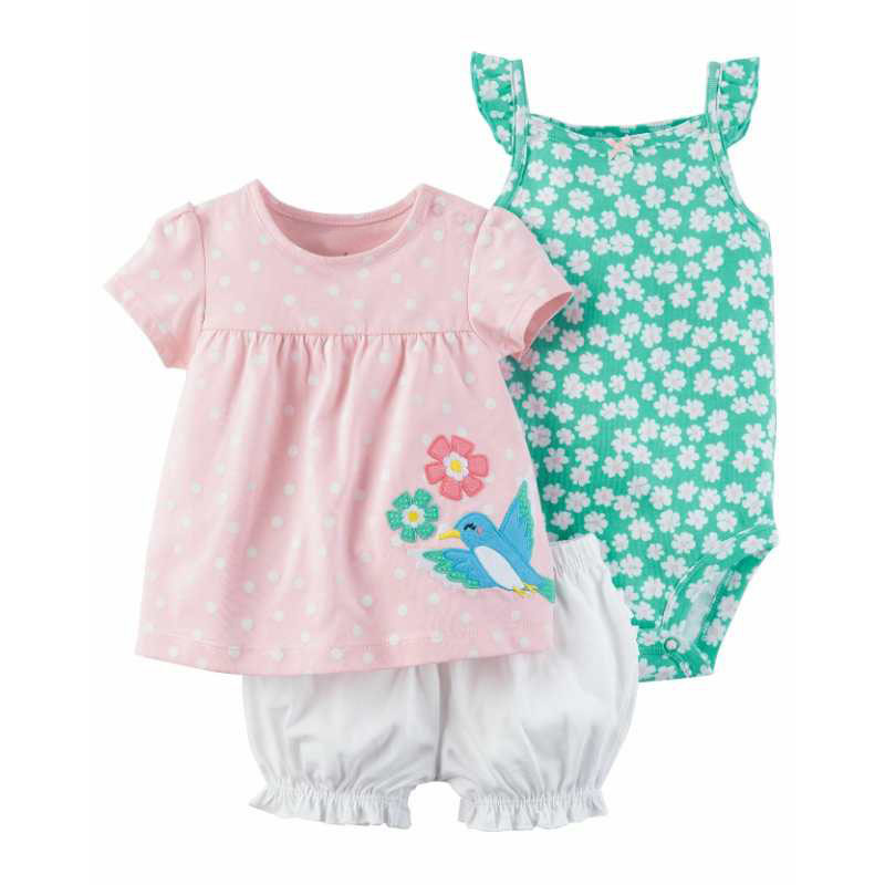 2018 Baby Girl Rompers Set Summer Kids Girl Sleeveless Romper 3pcs Flower Clothes Cute Cartoon 0-24M Newborn Cotton Clothing 2017 cute newborn baby girl romper clothes summer sleeveless floral lace jumpsuit outfits toddler kids sunsuit clothing