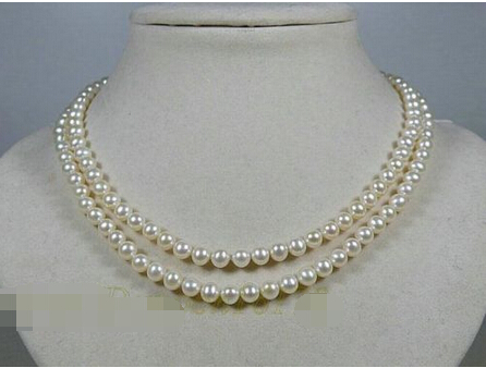 FREE shipping>>> >>> Double Strand 7-8mm White AAA Grade Akoya Pearl Necklace 16/17