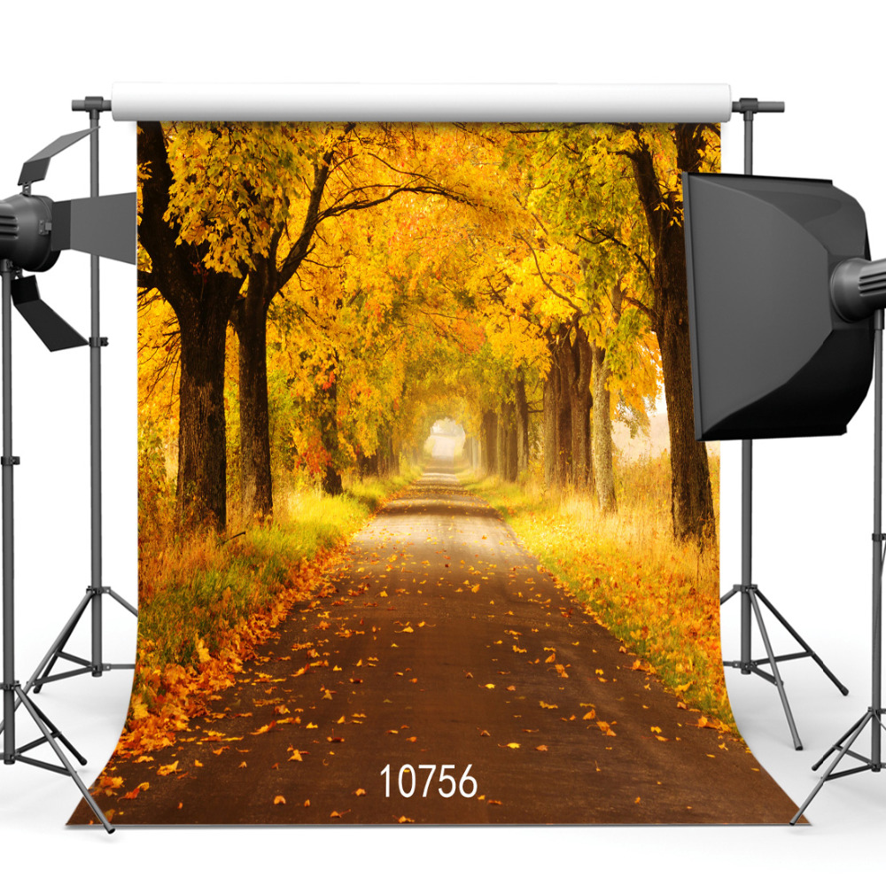 SJOLOON autumn photography background fall leaves road photo backdrops  baby photography background photo studio thin vinyl prop 3 5m vinyl custom photography backdrops prop nature theme studio background j 066