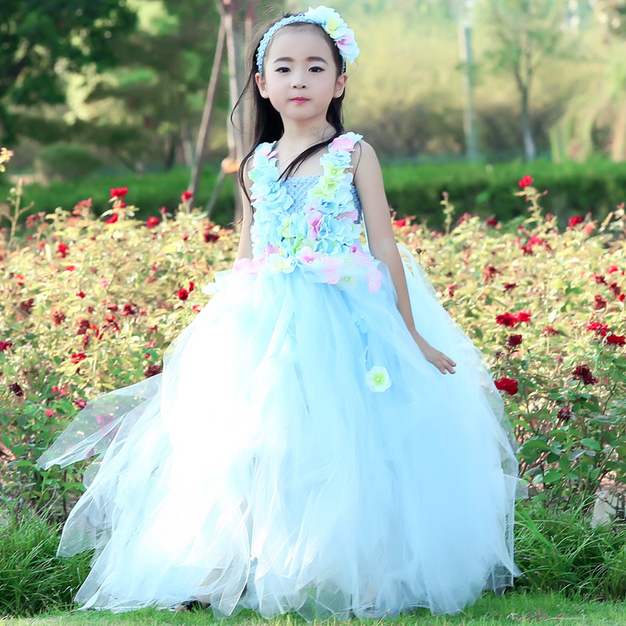 64540b68e Flowers Belle Princess Tutu Dress Girls Baby Kids Fancy Party ...