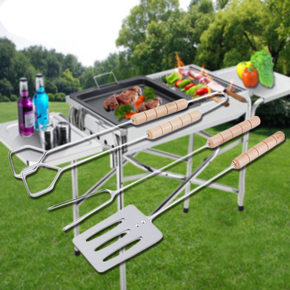 3pcs/set Stainless Steel Barbecue Fork Tong BBQ Tool Kitchne Utensil Chrome Spatula Barbecue Grilling Tool Cooking Tools