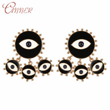 CANNER Fashion Statement Earrings for Women Dripping Oil Evil Eye Round Drop Dangle Geometric Jewelry Brincos