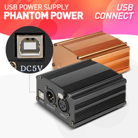 Drembo Audio USB Adapter 1 Channel 48V Phantom Power Supply for Condenser Microphone Mic Black or Gloden