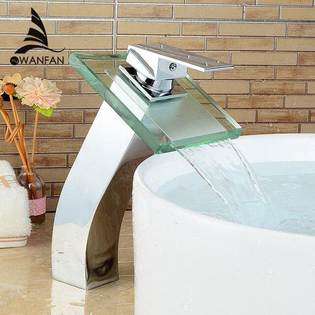 Modern Square Glass Waterfall Basin Faucet Bathroom Chromed Brass ...
