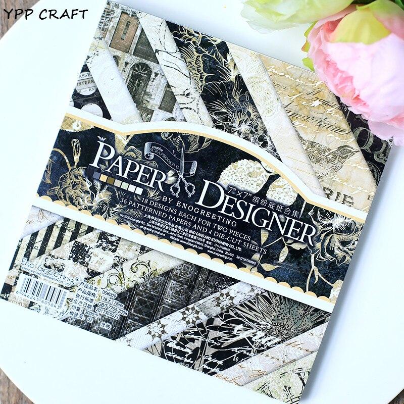 € 9.99 10% de DESCUENTO|YPP Craft 40 hojasLot vintage Oro Negro floral del papel de arte del papercraft del patrón libros determinados scrapbooking