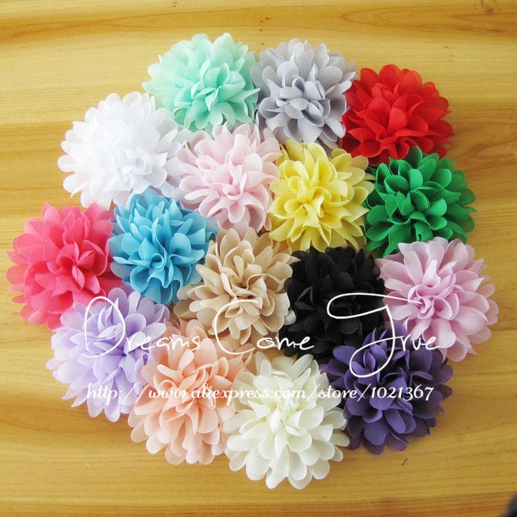 """200 개/몫 4 """"16 색 뜨거운 판매 패션 세련 된시 폰 꽃 액세서리 인공 직물 머리 꽃 아기 소녀 모자를 쓰고 있죠-에서인공 & 건조 꽃부터 홈 & 가든 의  그룹 1"""