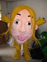 Талисман девушка женская голова Костюм талисмана обычай необычные костюмы аниме косплей комплекты mascotte необычные костюмы платье карнавал