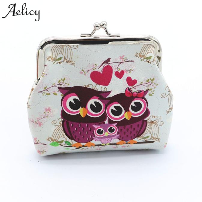 Aelicy 2018 New Design Women Lovely Owl Coin Purse Vintage Style Lady Small Wallet Hasp Purses Girl Money Change Clutch Bag