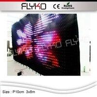 Flyko P10 3*8 m güneş led sahne ışığı programlanabilir PC denetleyicisi ile led video perde/DMX|led video curtain|video curtainled stage light -
