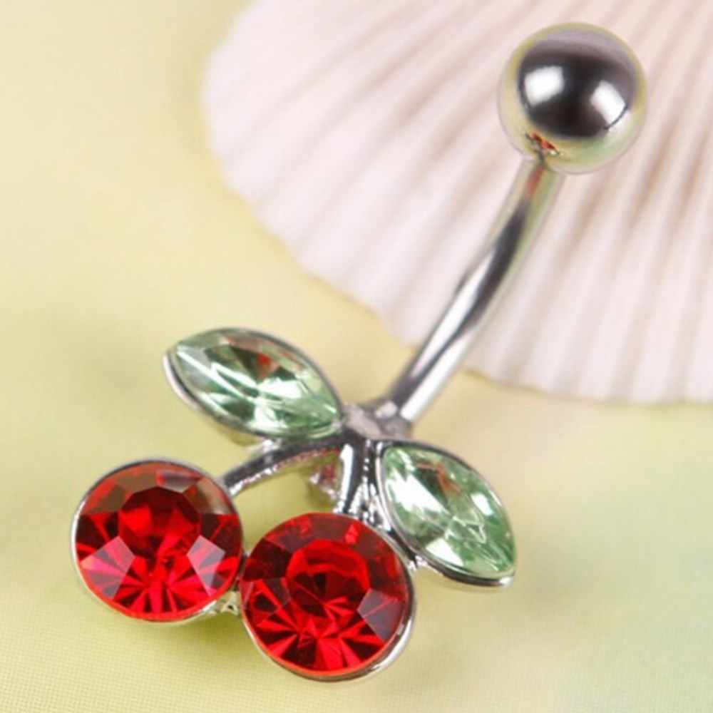 1Pc Rhinestone Stainless Steel Red Cherry Pusar Barbel Cincin