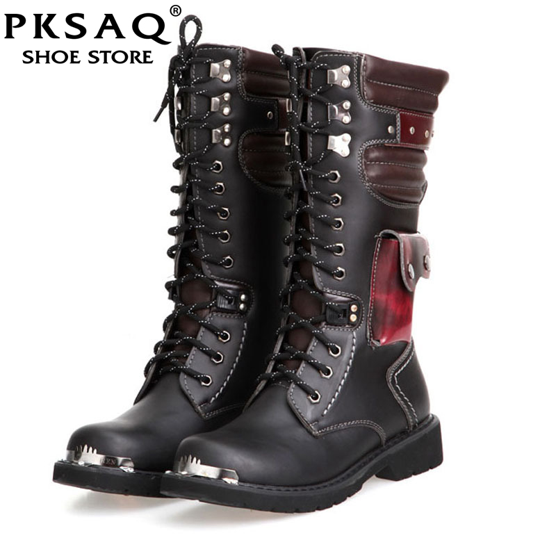 Shoes Men Buckle Lace Up High Combat Boots Spring Fashion 2018 Mens Shoes British Metal Military Motorcycle Boots 34 cmShoes Men Buckle Lace Up High Combat Boots Spring Fashion 2018 Mens Shoes British Metal Military Motorcycle Boots 34 cm