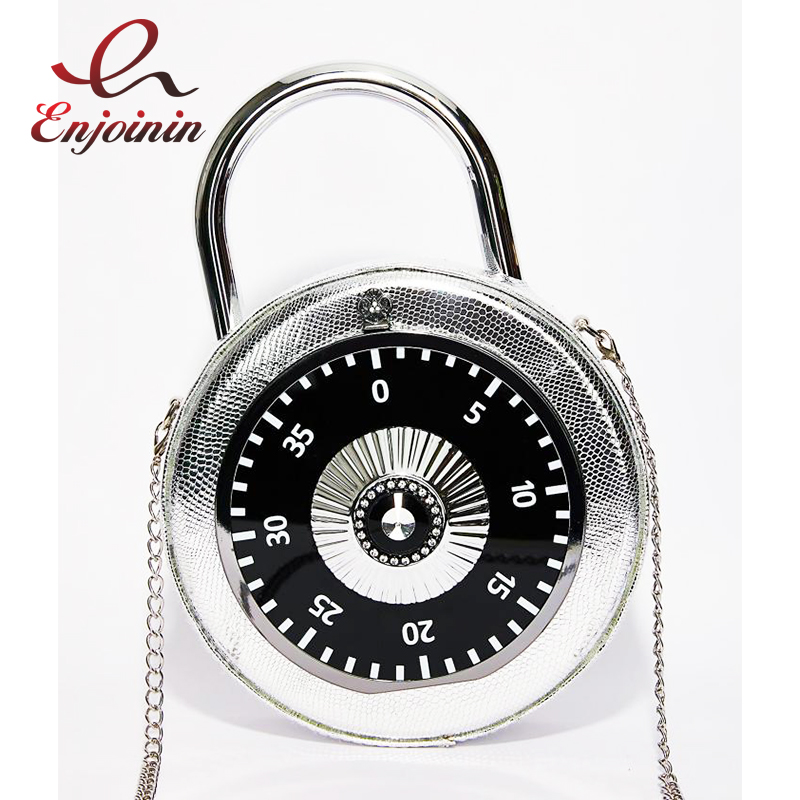 Personalized Fun Fashion Clock Shape Pu Leather Circular Ladies Handbag Chain Purse Shoulder Bag Crossbody Messenger Bag Bolsa
