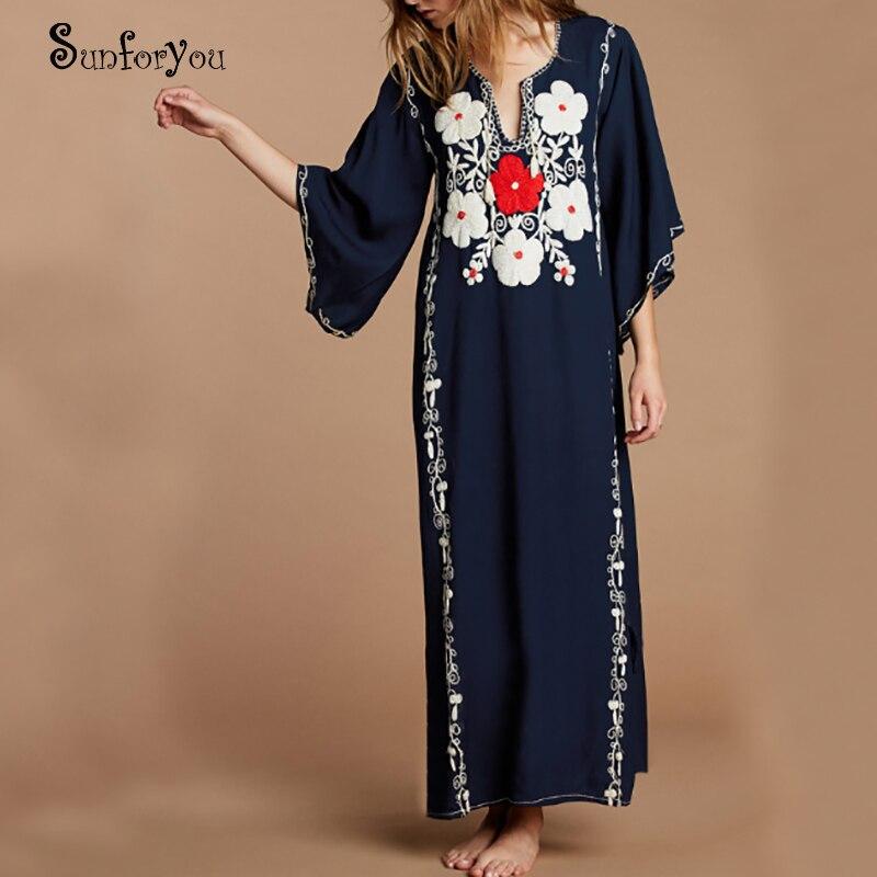 New Embroider Cotton Beach Dress Women Cover Ups Swimwear Pareo Beach 2020 Vestidos De Playa Bathing Suit Cover Ups Tunic