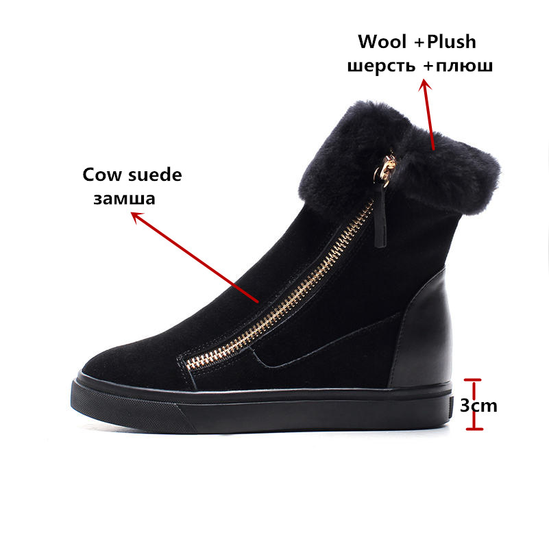 Image 2 - FEDONAS Top Quality Cow Suede Genuine Leather Warm Wool+Plush Snow Boots Women Wedges Heels Zipper Ankle Boots Shoes Woman-in Ankle Boots from Shoes
