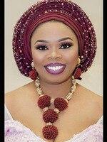 Fashion Wine Burgundy Women African Nigerian Wedding Jewelry Sets Wine Seed Bead Pendant Statement Necklace Set Bride 2018 WE134