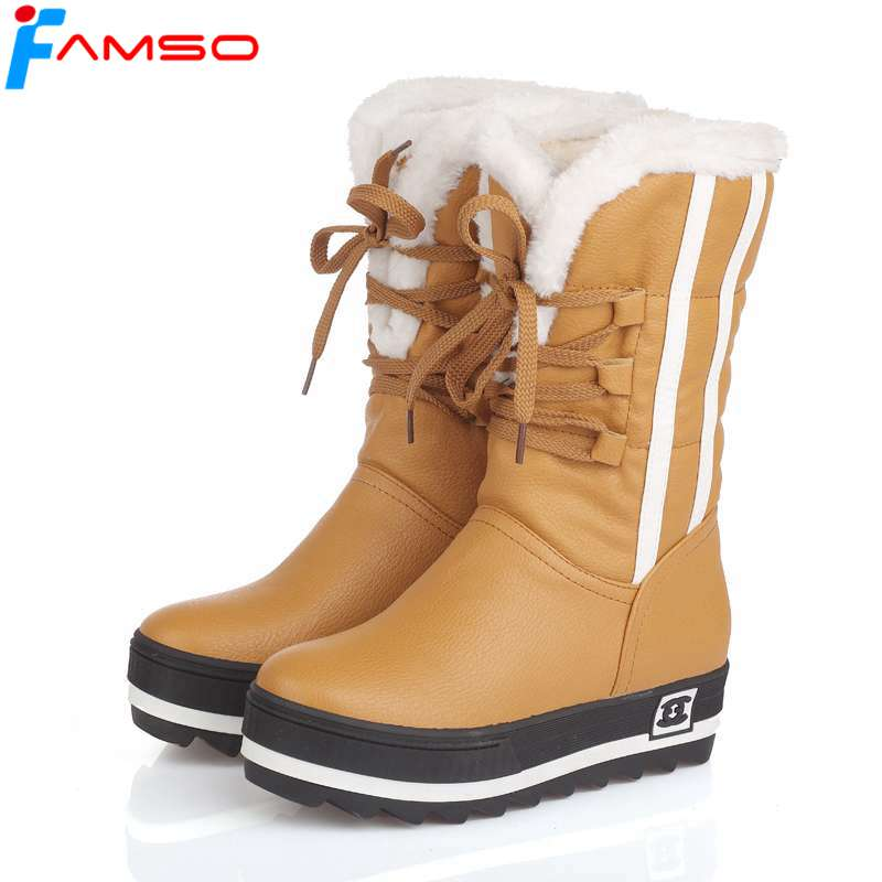 FAMSO Size34-43 2018 New Shoes Women Boots black Waterproof Platforms Shoes 4 Colors Winter Full Fur Women's Snow Boots SBT1672