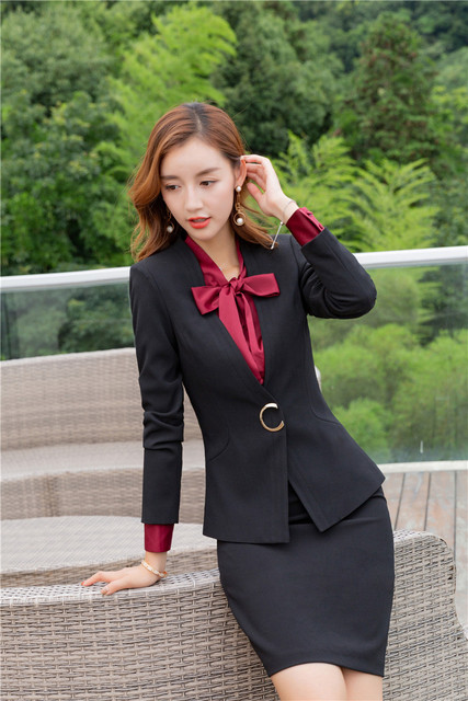ae6018203c Designs de uniforme Preto Elegante Blazers Ternos Com Saia E Tops Para As  Mulheres Escritório Desgaste