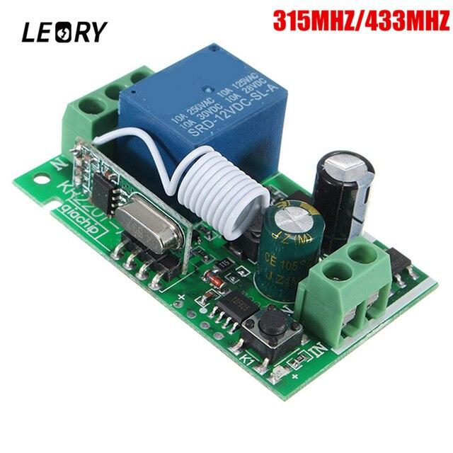 Leory inteligente sem fio rf controle remoto receptor dc 12v 220v 10a 1 ch 315/433mhz interruptor de relé melhor