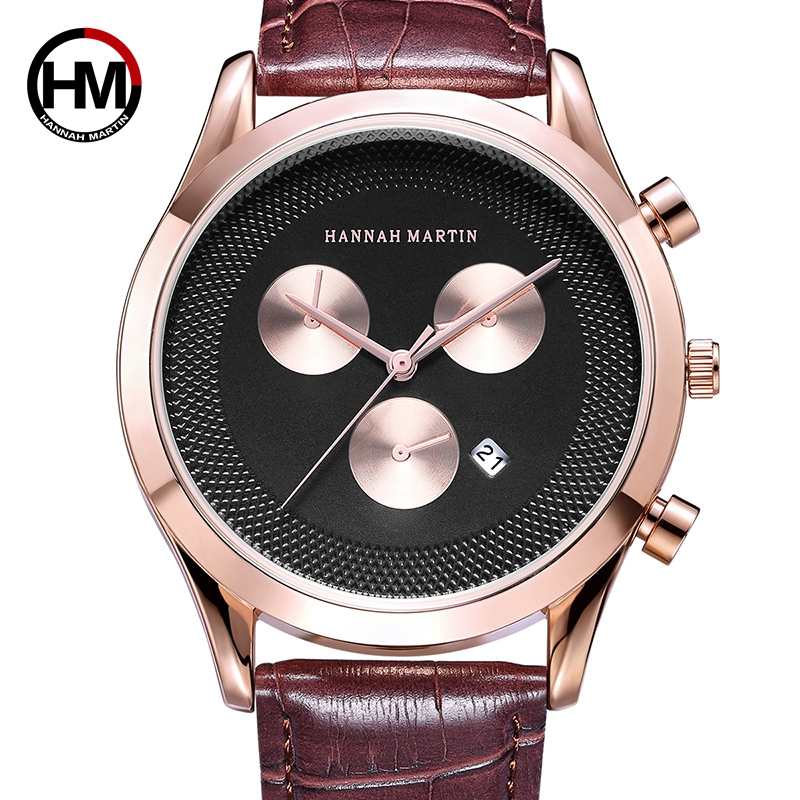 Hannah Martin Men's Watch Relogio Masculino Top Brand Luxury Fashion Watch Leather Chronograph Military odeon light 2590 3w page 4