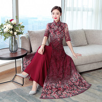 2019 spring new retro chiffon lace dress women's improved cheongsam banquet dress large size M 4XL high quality elegant vestidos