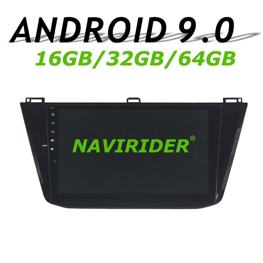 Navirider GPS navigation pour Tiguan 2016 voiture android 9.0 Octa core 4 Gb ram 64 gb rom lecteur radio HD stéréo carplay unité de tête