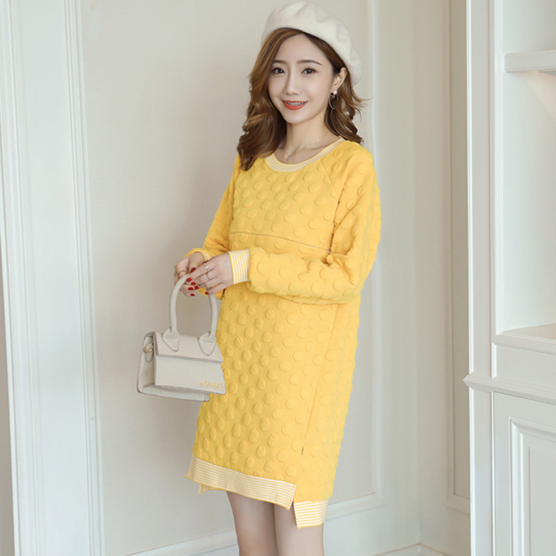 8831# 3D Dot Autumn Maternity Nursing Shirts Breastfeeding Tops Clothes for Pregnant Women Loose Fall Spring Pregnancy Clothing