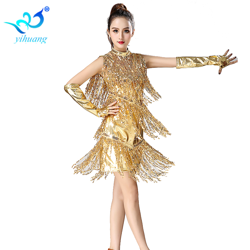 1920s Dress Flapper Costume Gatsby Outfits Charleston Party Sequin Latin Dance Dress Performance Dress With Necklace Gloves