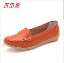5 color free shipping new arrival women single shoes natural genuine leather flats soft bottom moccasins work shoes woman