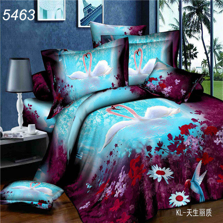 Swan Lake Lovers Couple Painting Night Blue Pond 3d Bedding Sets 3 D Duvet Cover Bed Sheets