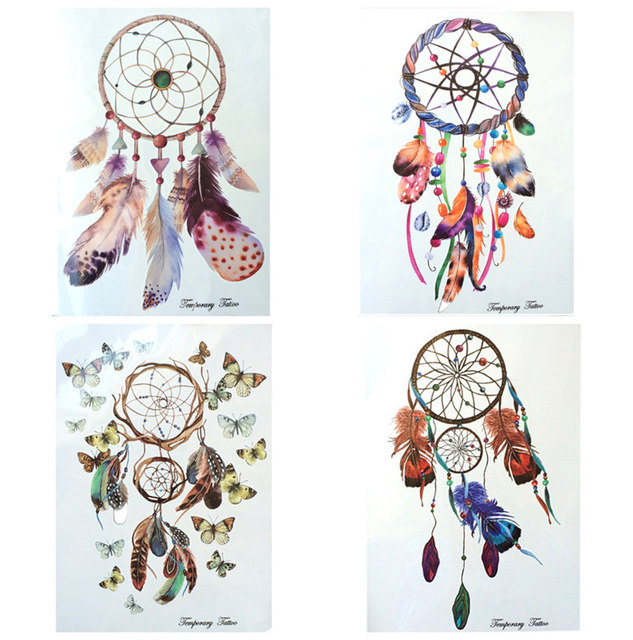 4 Pcs Fashion Waterproof Hot Temporary Tattoo Stickers 21 X 15 CM Color Bar And Feather Dreamcatcher