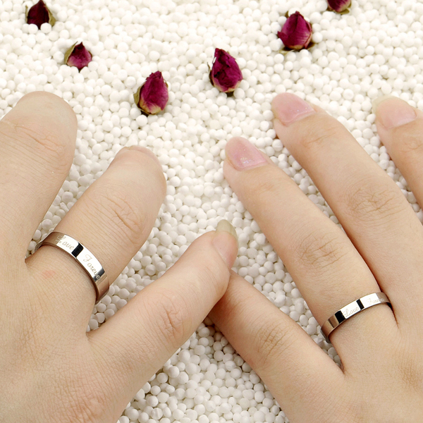 OPK JEWELRY Korean Fashion White Gold Couple Wedding Ring Smooth Surface Engrave Love Forever His And Her Promise 931 In Rings From Jewelry