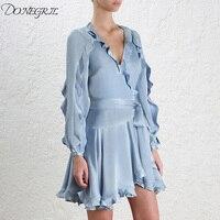 Elegant Ruffle Satin Dress Women Wrap Tie Waist Sexy Midi Party Dresses 2018 Fashion New V Neck A Line Dress