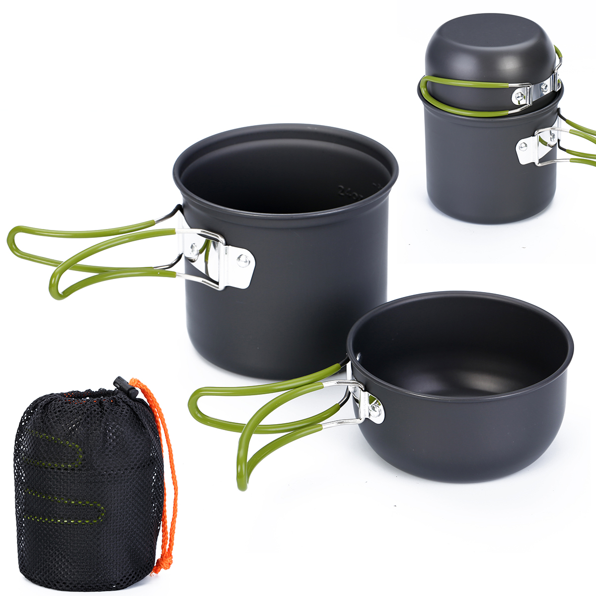 New Non Stick Aluminum Camping Cookware Hiking Outdoor Camping Backpacking Cooking Picnic Portable Cookware Set Bowl Pot in Outdoor Tablewares from Sports Entertainment