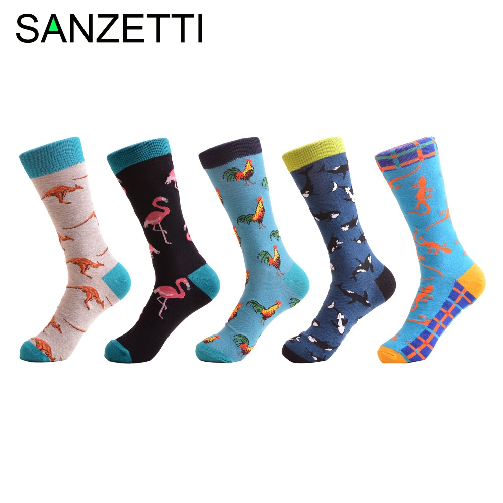 SANZETTI 5 pair/lot Mens Novelty Casual Socks Christmas Gift Combed Cotton Winter Crew Socks Crazy Party Dress Socks US 7.5-12