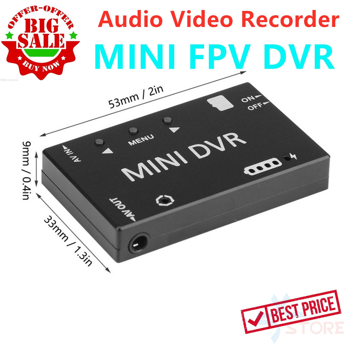 Mini FPV DVR Module NTSC/PAL Switchable Built-in Battery Video Audio FPV Recorder For RC Models Racing FPV Drone