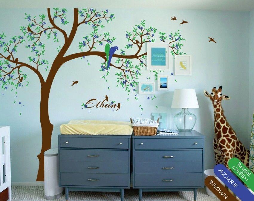 Sticker Mural arbre bleu mignon tatouage Mural Stickers muraux arbre de pépinière 200X125 CM - 2