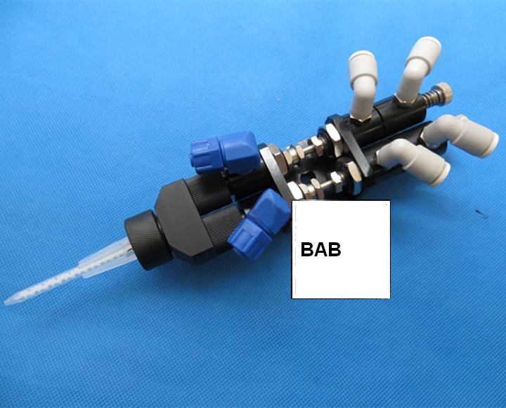 Thimble type double liquid dispensing valve mixing tube connected MA series glue valve dispenser double liquid
