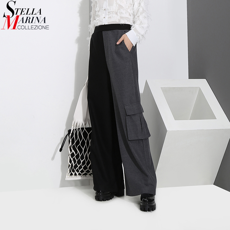 2018 Japanese Hit Color Style Women Woolen Long Straight   Pants   Pockets Ankle Length Elastic Waist   Wide     Leg     Pants   Trousers 3192