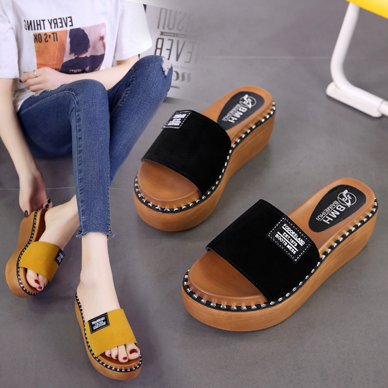New 2018 Summer platfom flip flops women slippers shoes ladies wedges sandals high heels Slides mules shoes woman new chinese ethnic style high heels string bead wedges slippers genuine cow leather flip flops woman summer casual shoes 34 39