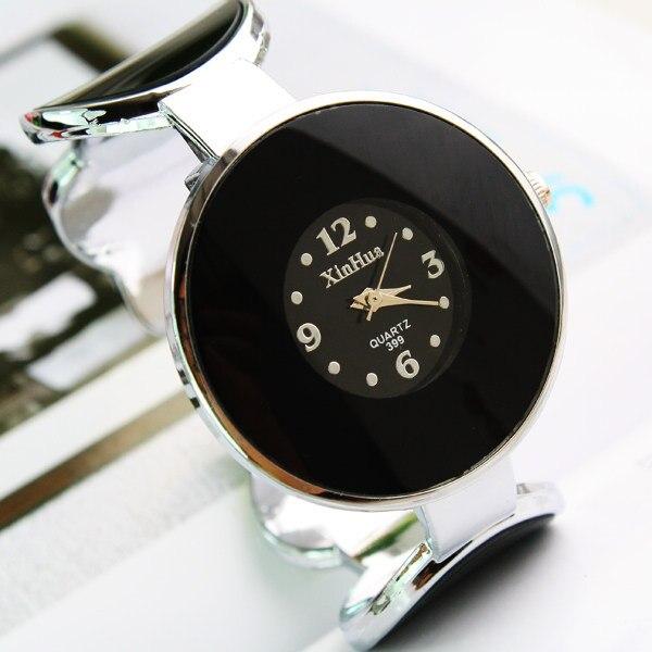 Fashion Women's Quartz Analog Flower Pattern Big Dial Silver Alloy Band Bracelet