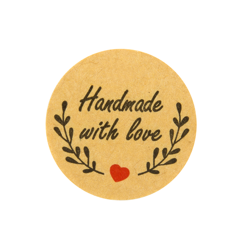 Купить с кэшбэком 1000pcs Natural Kraft olive handmade Stickers with love seal Labels cute sticker for Cake Packaging labels sticker stationery