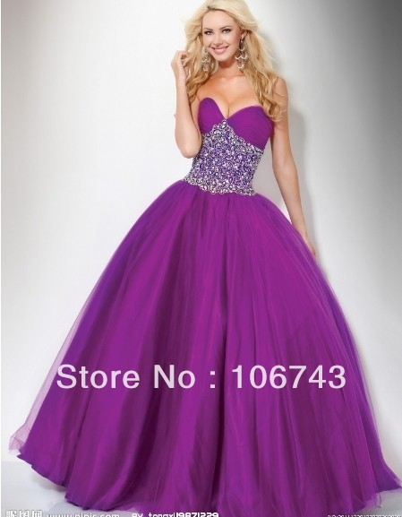 Livraison gratuite 2016 nouveau design robes robe de soirée en cristal perlé chérie violet partie de bal robe de bal Quinceanera Robes