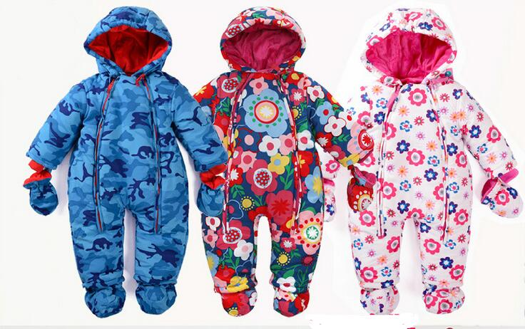 0-24M Baby Rompers Russia Winter Kids Boys Clothing Wind Fabrics + Velvet Infant Costume Warm Jumpsuit Free Shipping