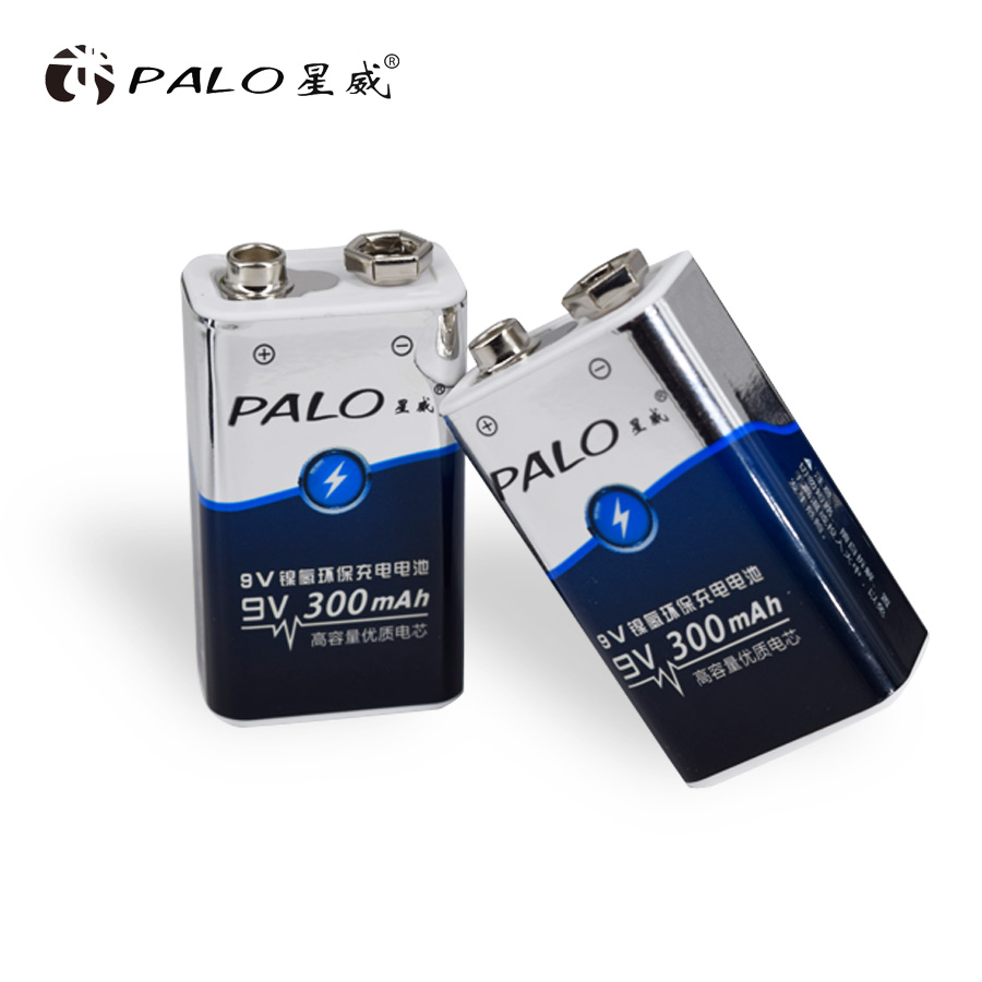 PALO Rechargeable 9V 6F22 Battery Ni-mh Nimh 300mah 9v Battery For Digital Camera Remote Control Toy Smoke Alarm Microphone