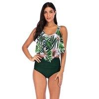 2019 Newest Sexy Women Bikini Set Floral Ruffle Printed Swimsuit 2 Piece Bikini Push Up High Waist Biquinis Brazilian Swimwear