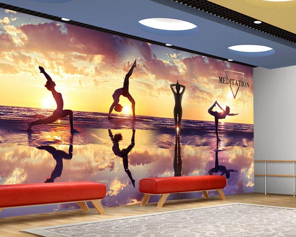 wall yoga culture mural decoration fitness club shipping 3d custom dance