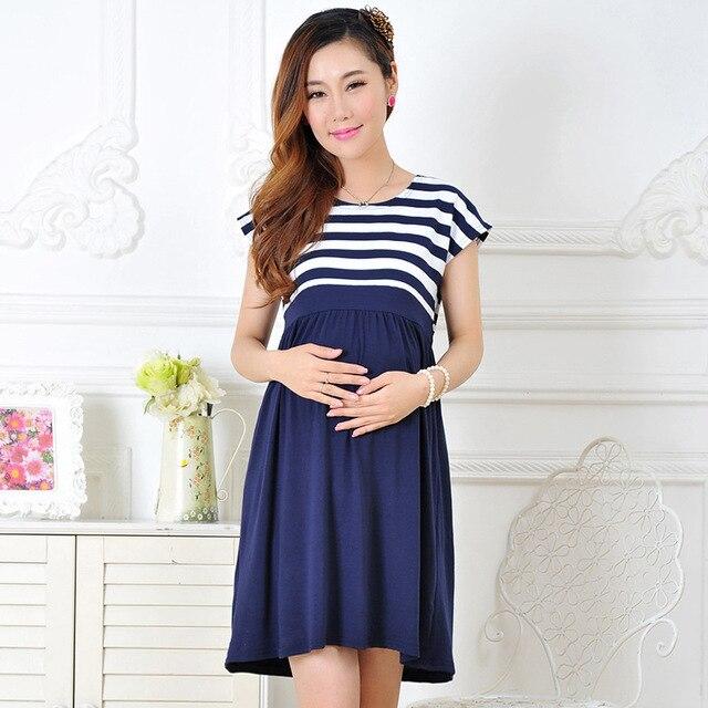 f555bdad7 Maternidad ropa casual Maternidad algodón Maternidad ropa señoras raya embarazada  Vestidos más vestido de tamaño para