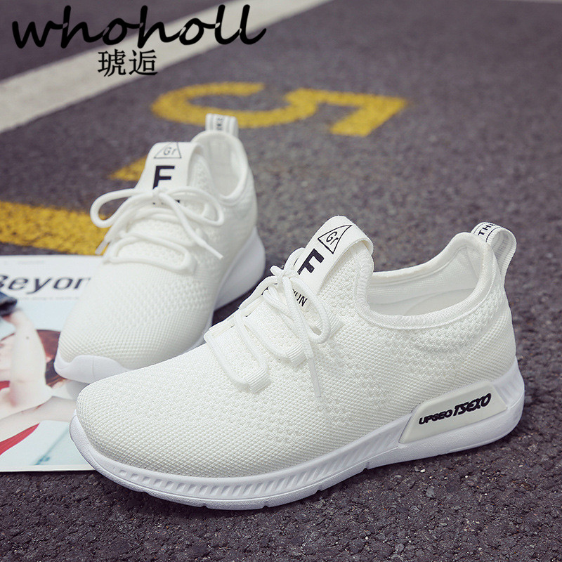 Whoholl 2018 New White Pink Air Mesh Student Breathable Lace Up Outdoor Women Shoes Lightweight Woman Vulcanized Sneakers