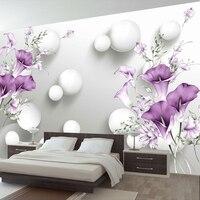 الحديث بسيط 3d ستيريو الإغاثة الأرجواني زنبق كالا زهرة جدارية خلفية المعيشة غرفة نوم رومانسية ديكور جدار فريسكو