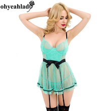 RS80198 Ohyeahlady Sexy lingerie plus size Green with Polka Dot Babydoll lingerie sexy Lace Hot  Babydoll sexy erotic Fashion